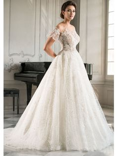 This stunning A-line dress fit for a simple garden wedding or extravagant hall. The floral lace detail over bodice and sweet sleeves. Lace detail on full tulle skirt that shimmers all over. Romantic Look, Tulle Lace, Bridesmaid Dresses, Wedding Dresses, Friend Wedding, Lace Applique, Floral Lace, Garden Wedding, Lace Detail