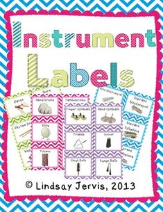 36 Adorable chevron labels for the elementary music classroom. These labels will help your students learn (and remember!) the names of your classroom instruments and help them remember where they go. Preschool Music, Music Activities, Teaching Music, Music Room Organization, Classroom Organization, Organizing, Classroom Management, Classroom Inspiration, Classroom Ideas