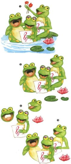 Frogs Illustration Noel, Graphic Illustration, 3d Cards, Paper Cards, Paper Folding Crafts, Image 3d, Cartoon Books, Cartoon Posters, 3d Sheets