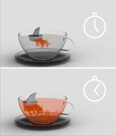 Sharky  The Sharky tea-infuser by Pablo Matteoda. Infusion means to extract certain properties from an soluble ingredient such as tea leaves , herbs or fruit by soaking in liquid (water) until it gets saturated. So we can say that a infuser is the in charged of make this happen. This is a ludic point of view about the color given off from the phenomenon, wich makes more interesting the waiting of the whole process.  Own It