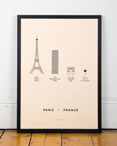 Me&Him&You Studio poster - shows line drawings of some of the major high buildings and attractions in Paris France which includes the Eiffel tower
