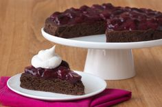 Facebook Pinterest PrintIngredients: Cake One 15-oz. can black beans, drained and rinsed 1/2 cup unsweetened cocoa powder 1/2 cup (about 4 large) egg whites 1/3 cup unsweetened applesauce 1/3 cup canned pure pumpkin 1/4 cup Truvia spoonable calorie-free sweetener (or another no-calorie granulated sweetener) 1 1/2 tsp. baking powder 1 tsp. vanilla extract 1/4 tsp. salt 2 tbsp. mini (or chopped) semi-sweet chocolate chips Topping 1 tbsp. cornstarch or arrowroo...