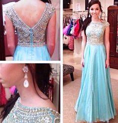 Elegant A Line Prom Dresses,Round Neck Prom Dresses,Long Homecoming Dresses,Chiffon Evening Dresses,Beading Prom Dresses,Party Dresses