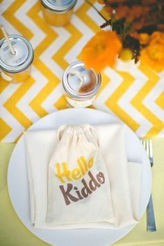 {one pretty pin} Yellow chevron baby shower