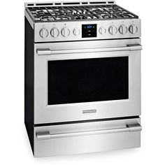 "Frigidaire's Professional Gas Front-Control Freestanding Range features an oval griddle-and-low-simmer fifth burner, a single 18,000-Btu superburner, and of course those meaty knobs that signify ""serious chef,"" to pro cred at a digestible price. Yet it also has pragmatic features like a smudge-proof coating and quick preheat."