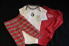 Baby Boy NWT Newborn LITTLE GUY Penguin 3 piece Layette Set 100% Cotton CARTERS  #Carters #EverydayHoliday
