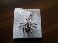 Halloween Spider Dangles Floating Locket Dangle Living Memory Black Crystals #Pendant