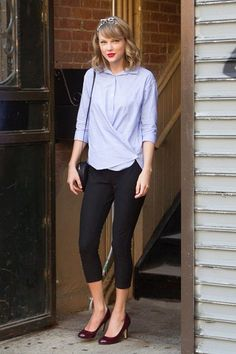 pants black pant red heels taylor swift blue shirt black bag