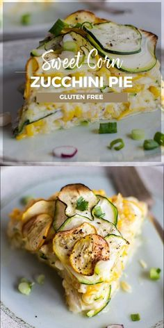Bring on the light summer meals with this Sweet Corn and Zucchini Pie recipe. Bake layers of summer squash with sweet corn, cheese, and just enough egg to hold this vegetable torte together and slice into beautiful pieces. A great brunch addition! Vegetable Pie, Vegetable Dishes, Pie Recipes, Dinner Recipes, Cooking Recipes, Light Summer Meals, Light Summer Appetizers, Cocina Light, Zucchini Pie