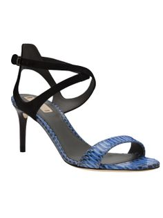 "Reed Krakoff - Spring 2014 - harness sandals - Sky blue snake skin harness sandals from Reed Krakoff featuring an open toe, contrast suede crossover ankle straps with a side buckle fastening, and a 3"" mid-heel."