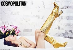 Emma Roberts strikes a pose on the June 2019 cover of Cosmopolitan Magazine. The actress wears a black Cosabella bra with Vanity Fair briefs. Emma Roberts Style, Julia Roberts, Beau Garrett, Gold Boots, Ellen Von Unwerth, Cosmopolitan Magazine, Chanel, Kirsten Dunst, Evan Peters