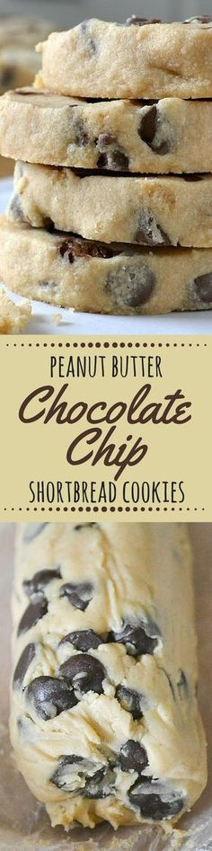 Peanut Butter Chocolate Chip Shortbread Cookies are easy slice and bake cookies with a buttery, melt in your mouth texture --- perfect for the holidays, or any day! ~ theviewfromgreatisland.com