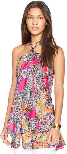 Lauren Ralph Lauren Paisley-Print Halter Tunic Top
