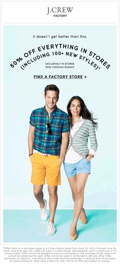 Pinned June 15th: Extra 50% off everything at J.Crew Factory locations coupon via The Coupons App