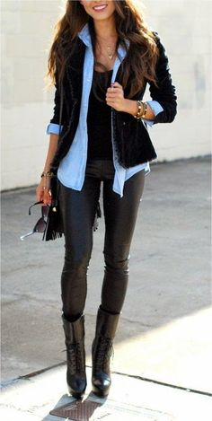Street Style | Edgy Black Leather Pants, Black Blazer With Light Blue Collared Button Up & Black High Heeled Boots