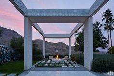 Rancho Mirage outdoor entertaining space.   Arch Digest.