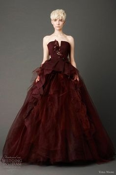 vera wang spring 2013 burgundy wedding dress