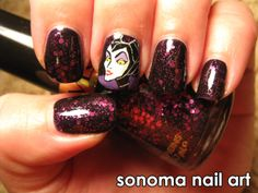Nails by Sonoma: Maleficent design. Get a closer look @ http://www.sonomanailart.com/2011/11/maleficent-and-facets-of-fuchsia.html