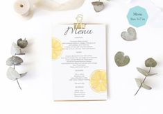 Lemon Menu Card Template, Lemon Menu Card Printable , Sorrento Menu Card Instant Download, Pdf Editable_______#menucard #lemonshowerinvite #watercolorinvite #printableinvitation #lemoninvitation #weddingsorrento #weddingamalficoast #weddingitaly