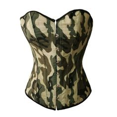 Bslingerie Womens Camouflage Green Fashion Boned Corset Top (L, Green (Buckle) Corset with Skirt) Camouflage Fashion, Camo Fashion, Green Fashion, Punk Fashion, Military Fashion, Womens Fashion, Classy Outfits, Beautiful Outfits, Black Leather Corset