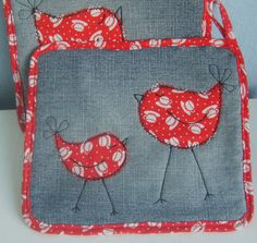 Little Birds potholder - just a picture but easy enough to figure out