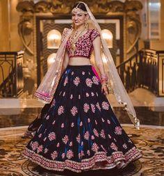Indian Bridal in Blue & Maroon Butta Embroidery Designed Lehenga Stunning Dresses, Beautiful Gowns, Pretty Dresses, Beautiful Bride, Lehenga Designs, Indian Dresses, Indian Outfits, Ball Dresses, Ball Gowns