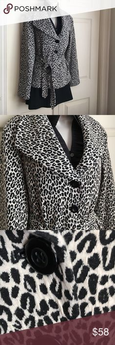 "NWOT Harve Benard Damask Cheetah Jacket - M This incredible jacket was a impulse purchase - not my size, but so very elegant! Now you can own it at a fraction of what I paid. Three large black buttons & a sash plus wide lapels adds a touch of drama and the back slit and finished beltloops (not string) add comfort and class. Back is lined, but front is not to add to drape. Measurements laid flat: Sleeve - Shoulder to Hem: 24"" Front Length: 27"" Top of collar to hem. Back Length 26.25"" (top of…"