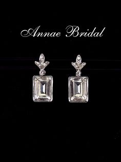 "Clear crystal Art Deco earrings, bridal wedding Swarovski, silver,  rectangle, ""Napoli"" earrings on Etsy, $34.00"