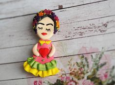 Art Brooch Pin Day of Dead Jewelry Frida Kahlo Jewelry