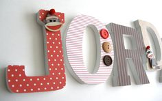 Red & Brown Sock Monkey Wooden Letters, Alphabet Name Art, Decoupage, Unisex Gender Neutral, Nursery Sock Monkey Nursery, Monkey Room, Sock Monkey Baby, Whale Nursery, Animal Nursery, Nursery Name Decor, Nursery Themes, Nursery Ideas, Hanging Letters