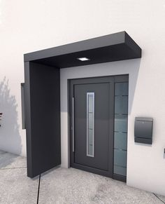 Ideas Front Door Porch Canopy House For 2020 Door Canopy Modern, Front Door Canopy, Modern Entrance Door, Front Door Porch, Modern Front Door, House Front Door, Front Door Design, House Doors, House With Porch