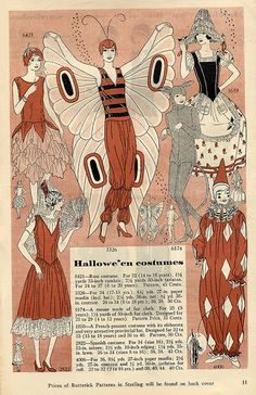 1929 Butterick Halloween Costume Patterns - So Awesome! Vintage Halloween, Halloween Fun, Halloween Costumes, Ghost Costumes, Vintage Witch, Halloween Makeup, Halloween Images, Historical Costume, Historical Clothing