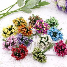 Barato 12 unids artificial estambre pistilo de la flor para la boda de decoración del hogar diy garland craft scrapbooking flores falsas