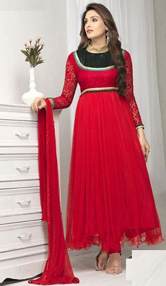 USD 28.06 Red Net Ankle Length Anarkali Suit 55919