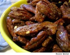 Candied pecan recipe.  Put on salad with apple or pear, dried cranberries, and tangy cheese.