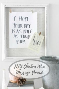 DIY Chicken WireMessage Board Pin Image