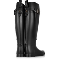 Burberry Shoes & Accessories Leather-trimmed Wellington boots ($325) ❤ liked on Polyvore featuring shoes, boots, botas, rubber boots, wellies boots, equestrian rain boots, rain boots and equestrian boots