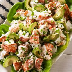 Lobster Salad Lobster rolls make for an epic summer meal but the truth is you dont really need the split top hot dog buns Or melted butter Lightly dressed with mayo and f. Lobster Recipes, Fish Recipes, Seafood Recipes, Cooking Recipes, Healthy Recipes, Sea Food Salad Recipes, Seafood Appetizers, Lobster Salad, Seafood Salad