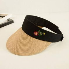 acd07137317 Flower Embroidered straw visor hat for sun protection outdoor sun hats for  women