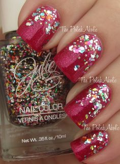 PolishAholic- JulieG holiday 2013- Love the sparkle at the base of the nail!