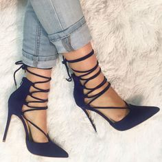 Blue Pointed Toe lace up heels