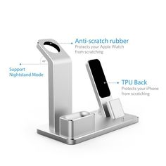 Aluminum 4 In 1 Charging Dock Station Stand Holder For iPhone/Apple Watch Series/ AirPods BazaCenters. Apple Watch Accessories, Ipad Accessories, Nightstand With Charging Station, Phone Organization, Wearable Device, Phone Charger, Docking Station, Apple Watch Series, Phone Holder