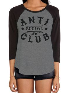 "Women's ""Anti Social Club"" Raglan by Social Decay (Black) #InkedShop #antisocial…"