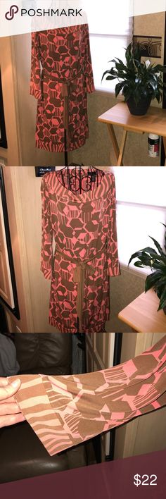 Attention Dress 👗 Pretty and sophisticated long sleeved dress.... orange and brown. Great for gathering or office. Attention Dresses Long Sleeve