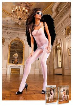 This classic, white mesh halter neck bodystocking is the perfect accessory for seduction. The open rear area, as well as the open style genital area, radiate highly erotic glamour and infatuate every onlooker. One size fits most. Color White. Fabric composition: 100% Nylon. Washing instructions: hand wash separately in cold water. Do not bleach. Line dry. Please note shown with g-string panty and wings, not included.