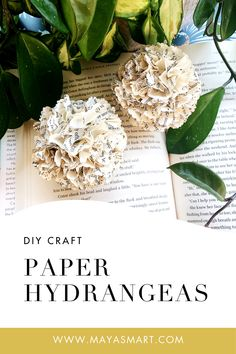 What a pretty way to spotlight literacy and bring a touch of nature into your home! Make these hydrangea blossoms out of old book pages with this DIY book craft. A simple project that offers a literary twist on classic paper flowers! How To Make Paper Flowers, Paper Flowers Diy, Flower Crafts, Diy Paper, Paper Crafts, Diy Crafts, Old Book Crafts, Book Page Crafts, Diy Old Books