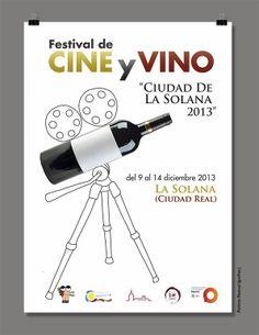 Propuesta de diseño de cartel para el festival de cine y vino  de Ciudad Solana por grafias.