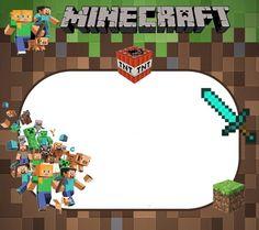 Mi - Minecraft World Minecraft Birthday Invitations, Minecraft Birthday Party, Birthday Yard Signs, Birthday Frames, Imprimibles Paw Patrol, Minecraft Party Decorations, Minecraft Images, Transformer Birthday, Print Your Own Invitations
