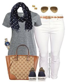 """""""Plus Size - Simple Sunday"""" by alexawebb ❤ liked on Polyvore featuring H&M, Gucci, Converse, Scotch & Soda, Michael Kors, Ray-Ban, Kate Spade, outfit, plussize and plussizefashion"""