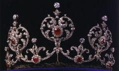 King Edward VII Ruby Tiara, Sweden (early 20th c.; made by E. Wollf  Co.; rubies, diamonds, gold). Also called the Connaught Tiara.